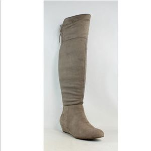 Knee high/ thigh high suede taupe boot wedge
